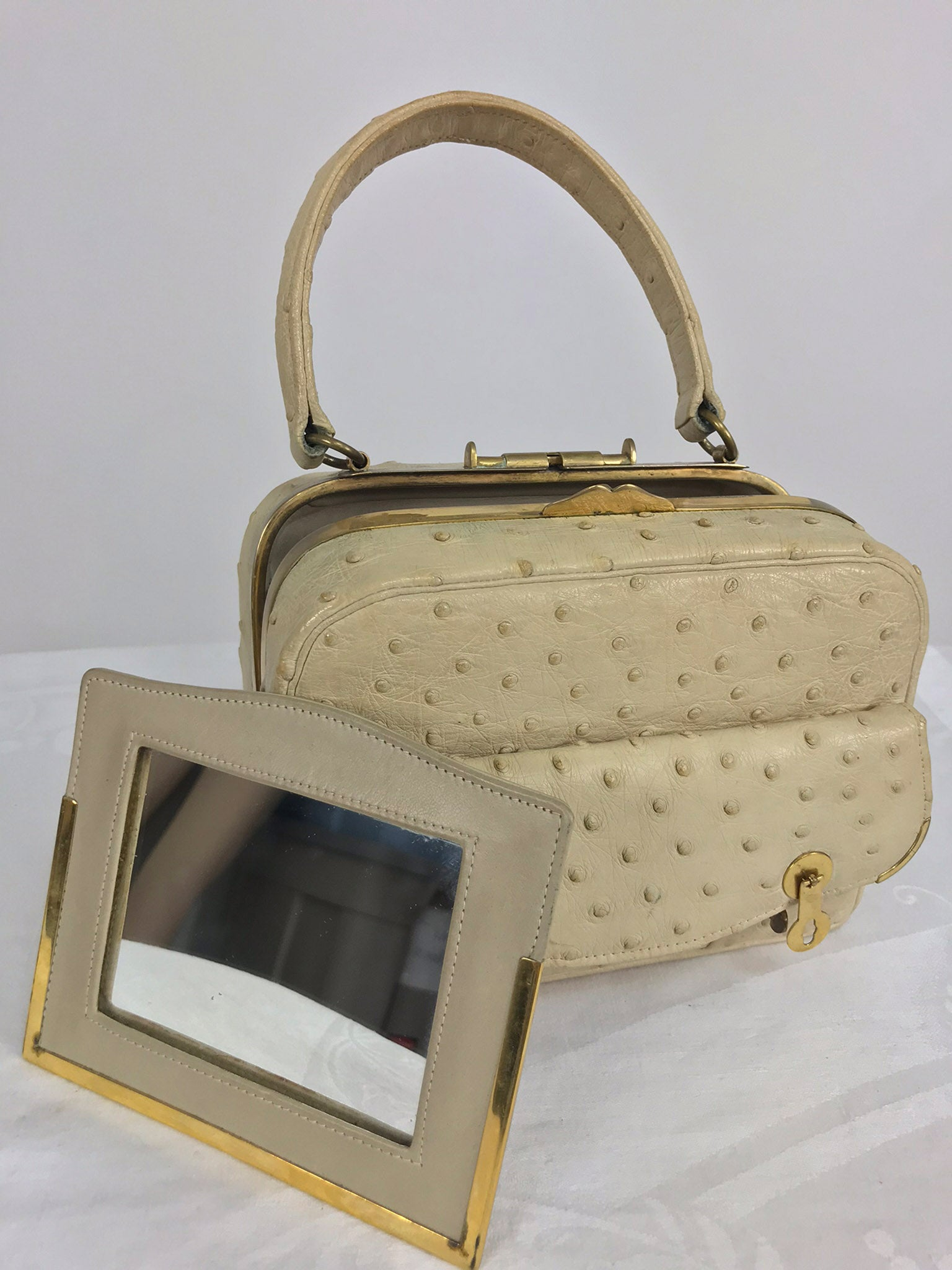 ... Cream Ostrich Leather Frame Gold Hardware Handbag 002f363d4dd38
