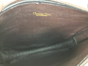 Christian Dior Logo Canvas Zipper Clutch With Leather Strap 1970s