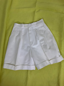 Yves Saint Laurent white cotton twill cuffed shorts 1970s