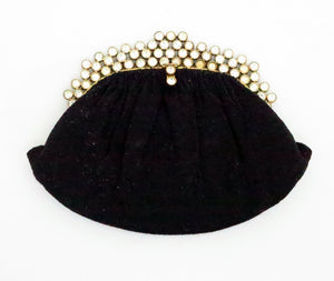 Josef black caviar beaded rhinestone jewel frame evening bag handbag 1950s