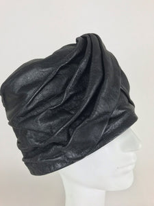 SOLD Mr John Jr black leather turban style hat, 1960s