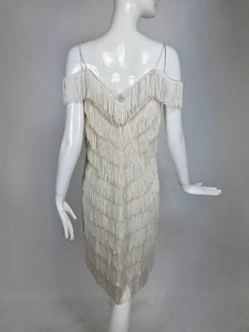 Joy Stevens off-white V fringe cocktail dress 1970s