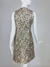 Vintage Mod Metallic Brocde Cocktail Dress 1960s