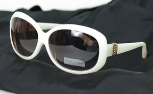 David Yurman cream sunglasses with Sterling silver & gold bands NWT