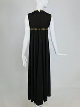 Vintage John Charles of London Empire Sleeveless Jersey Maxi Dress with Gold Studs 1970s