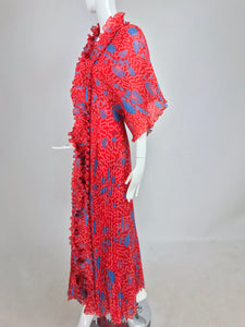 Zandra Rhodes Coquille Print Pleated Caftan and Maxi Dress Set 1970s