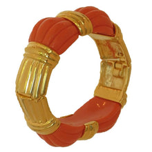 Kenneth J Lane coral & gold hinge clamper bracelet barely worn