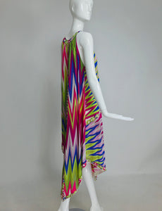 SOLD Emilio Pucci Zig Zag Colour Bright Gown and Robe Set EPFR 1970s