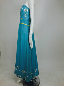 SOLD Philip Hulitar Daisy Embroidered Blue Slub Silk Strapless Gown 1950s