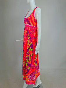 Emilio Pucci Neon Print gown and robe set EPFR from the 1970s