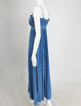 1930s Blue Pinch Pleated Raw Silk Couture Evening Gown