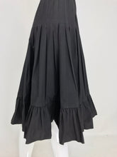 Valentino Pleated and Gathered Black Black Cotton Skirt 1970s