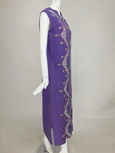 Vintage Ethnic Embroidered Linen Sleeveless Maxi Dress 1970s
