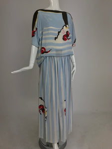 Michaele Vollbracht Abstract Print Blue and White Stripe Silk Top and Maxi Skirt Set 1980s