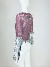 Vintage Loris Azzaro Metallic Pink and Silver Leather Sweater 1980s