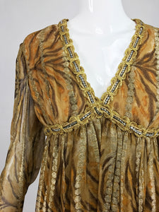 Bill Blass Metallic Silk Chiffon Tiger Stripe Cocktail Dress 1970