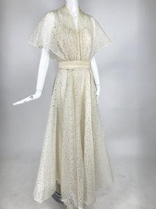 Vintage Ivory Organza Cut Work Summer Evening Party Dress 1940s 10-12