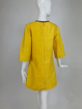Raw silk tunic in saffron with purple embroidered applique 1960s