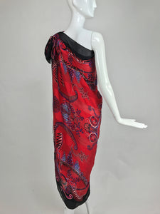 Zandra Rhodes large silk shawl in red and purple the three graces