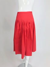 SOLD Yves Saint Laurent Tomato Red Cotton Full Pleated Skirt Vintage