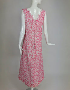 Vintage 1960s Pink and White cut Work Organza Classic Palm Beach Evening Dress