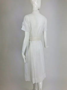 Vintage 1930s White Cotton Window Pane Woven Fabric Day Dress Bakelite Buttons