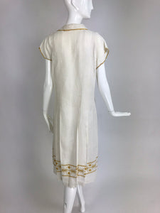 Vintage 1920s Hand Embroidered Arts and Crafts Linen Day Dress