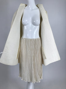 Mary McFadden Ivory Quilted Jacket and Matching Fortuny Style Pleated Skirt Set 1980s