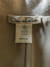 Oscar de la Renta Natural Linen Lace Front Safari Style Dress