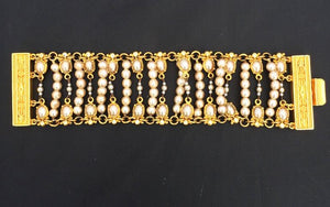 Wide embossed gold and pearl with rhinestone bracelet