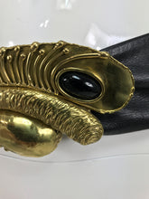 Modernist brass and onyx belt buckle and leather belt 1980s