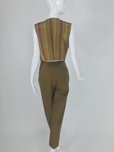 SOLD Vintage Romeo Gigli 2pc Olive khaki Vest and Trousers G Gigli 1990s