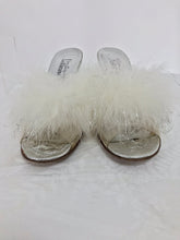 1960s Boutique Julianelli Silver Leather Marabou Vinyl Mules Shoes 9M Vintage