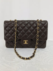 Chanel Single Flap Jumbo Brown Quilted Leather Handbag 2010-11 NWOT