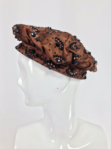 Vintage Miss Dior Christian Dior Beaded Copper Silk Black Net Beret 1960s
