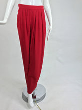 Yves Saint Laurent candy red satin back crepe full leg trousers 1990s
