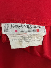 SOLD Yves Saint Laurent candy red satin back crepe full leg trousers 1990s