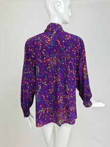 Yves Saint Laurent purple and coloured dots silk bow tie blouse 1970s