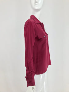 Vintage Yves Saint Laurent Rive Gauche Burgundy Silk Double Pocket Blouse 1970s