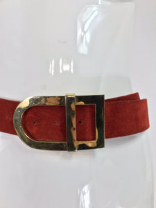 Christian Dior Brick Red Suede Belt with Gold Buckle