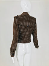 Valentino Brown and White Polka Dot Cropped Motorcycle Jacket