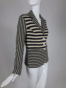 SOLD Moschino Black and Off White Stripe Jacket