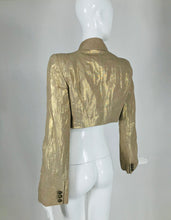 Alexander McQueen Gold Linen Cropped Military Jacket