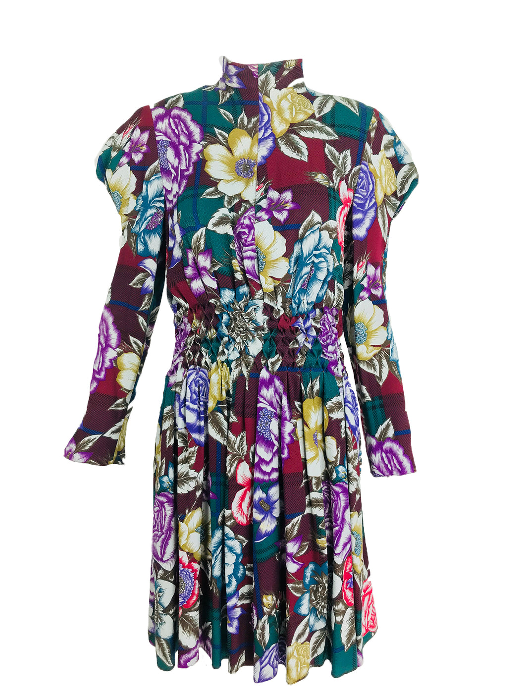 Christian Lacroix Foral Silk Smocked Waist Dress 1990s