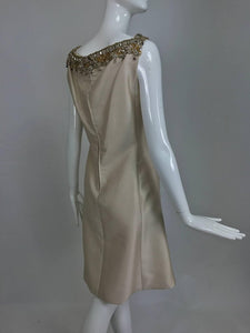 Malcolm Starr jeweled V neck silk dress 1960s