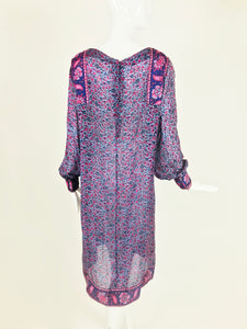 Vintage Silk Block Print Dress India 1960s