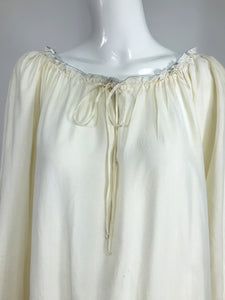 Vintage Fernando Sanchez Cream Silk Bohemian Maxi Dress 1970s