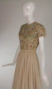 Beaded Applique Silk Chiffon Cocktail Dress 1960s