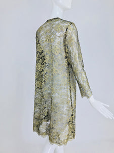 Sheer Gold Metallic Lace Coat Vintage 1980s