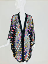 SOLD  Vintage Sheer Black Chiffon Metallic Velvet dot Kimono Robe 1980s